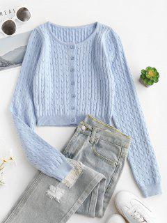 Cable Knit Cropped Cardigan - Light Blue M