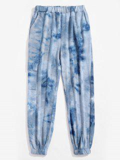 Tie Dye Print Elastic Waist Beam Feet Pants - Light Blue L