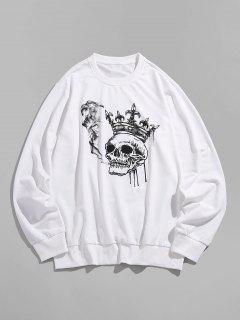 ZAFUL Funny Smoking Skull Crown Print Sweatshirt - White 2xl