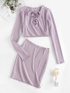 Cropped Ribbed Lace Up Two Piece Dress - Purple Flower M