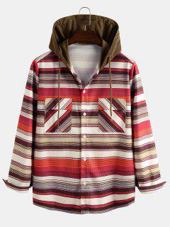 Hooded Striped Pattern Pocket Button Up Shirt Jacket - Multi Xl