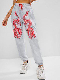 ZAFUL Pantalon De Jogging Dragon Imprimé Chinoiserie - Gris Clair S