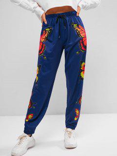 ZAFUL Pantalones Jogger Con Estampado De Mariposa - Azul Profundo S