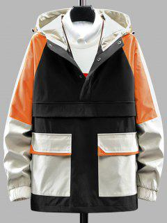 Color Blocking Hooded Graphic Pullover Cargo Jacket - Black Xl
