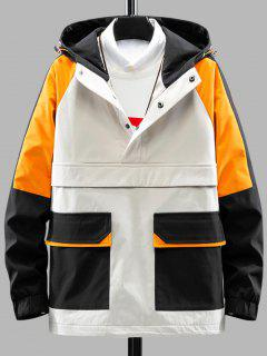 Color Blocking Hooded Graphic Pullover Cargo Jacket - Light Khaki 3xl