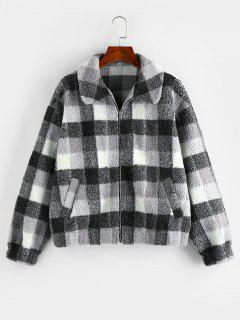 ZAFUL Manteau Zippé à Carreaux à Goutte Epaule - Noir Xl