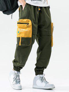 Pantalon Cargo Lettre Imprimée Jointif En Blocs De Couleurs Avec Poche - Vert Armée  2xl
