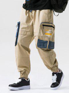 Colorblock Patchwork Pocket Letter Print Cargo Pants - Khaki 4xl
