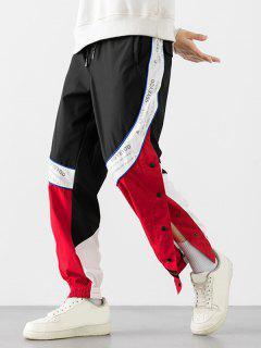 Pantalones Con Botón A Presión Con Panel De Bloqueo De Color Y Estampado De Letras - Rojo 2xl