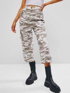 Jean Camouflage Cousu Détaillé à Taille Haute Avec Poche - Vert Clair L