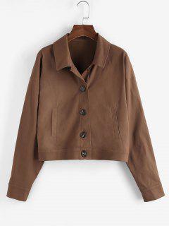 ZAFUL Drop Shoulder Button Up Plain Jacket - Deep Coffee M