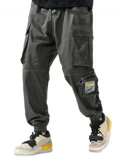 Letter Patchwork Stitching Multi-pocket Cargo Pants - Army Green M