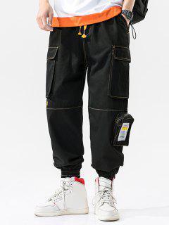 Pantalon Cargo Lettre Jointif Cousu Avec Multi-Poches - Noir 2xl