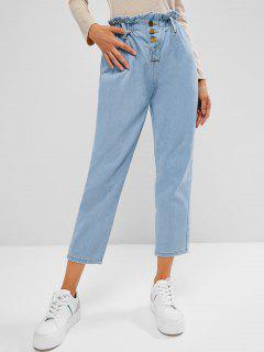 Button Fly Light Wash Paperbag Jeans - Light Blue S
