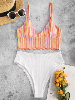 ZAFUL Colorful Striped Surplice-front Ribbed Tankini Swimwear - Red 2xl
