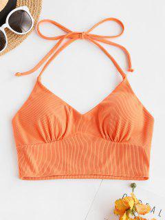 ZAFUL Halter Ribbed Bikini Top - Dark Orange M
