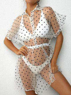 Organza Polka Dot Cover Up Dress - White S