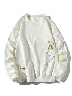 Cartoon Cat Printed Letter Applique Sweatshirt - White M