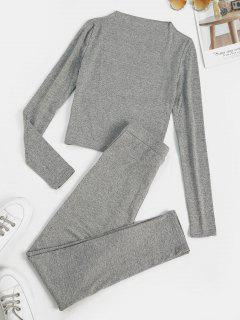 Marled Fleece Lined Skinny Two Piece Pants Set - Light Gray M