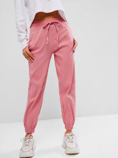 Drawstring Pocket Pull-on Beam Feet Pants - Light Pink M