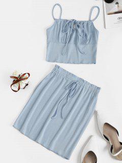 T-shirt Corset à Encolure Fendue à Cordon De Serrage Avec Jupe Moulante - Bleu Clair S