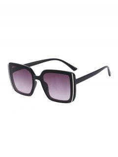 Stripe Design Square Oversized Sunglasses - Jet Black