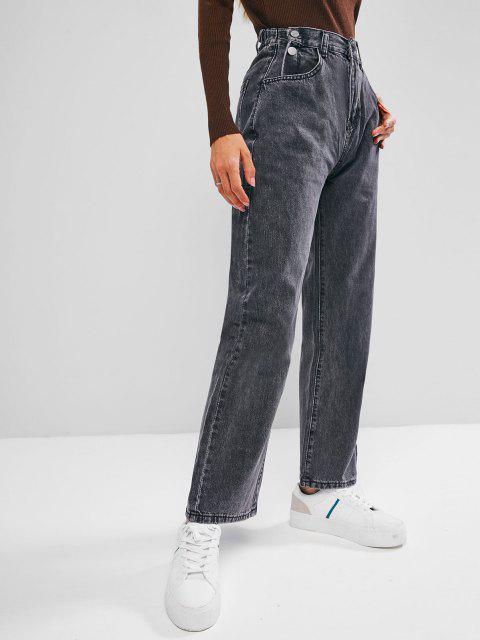 Jeans Cintura Alta y Botones - Negro XL Mobile