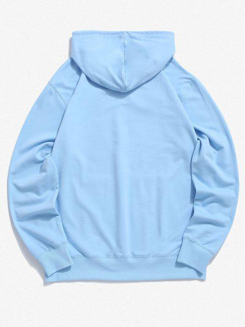 unique Kangaroo Pocket Alien Planet Drawstring Hoodie - LIGHT BLUE L Mobile