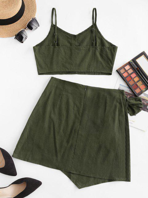 fancy Button Up Knotted Overlap Two Piece Dress - DEEP GREEN XL Mobile