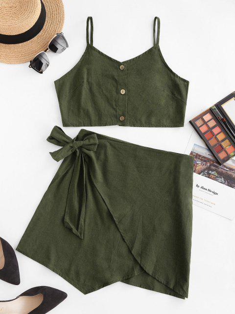 latest Button Up Knotted Overlap Two Piece Dress - DEEP GREEN M Mobile