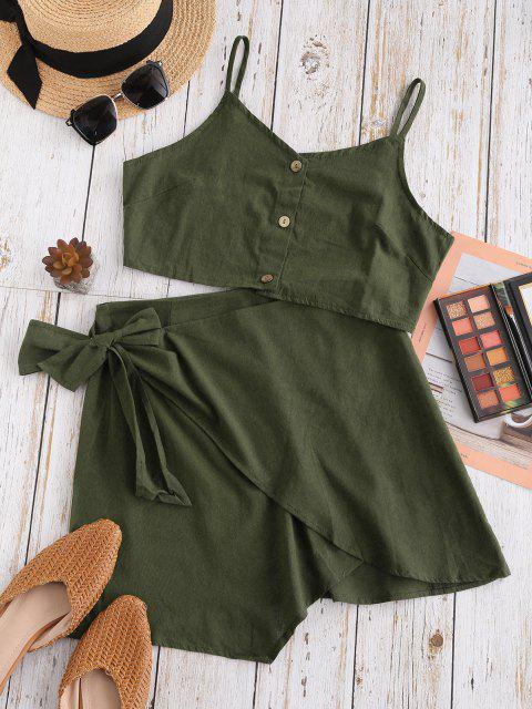 chic Button Up Knotted Overlap Two Piece Dress - DEEP GREEN S Mobile
