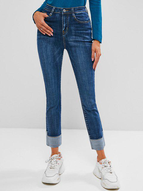 buy High Waisted Cuff Hem Skinny Jeans - BLUE M Mobile