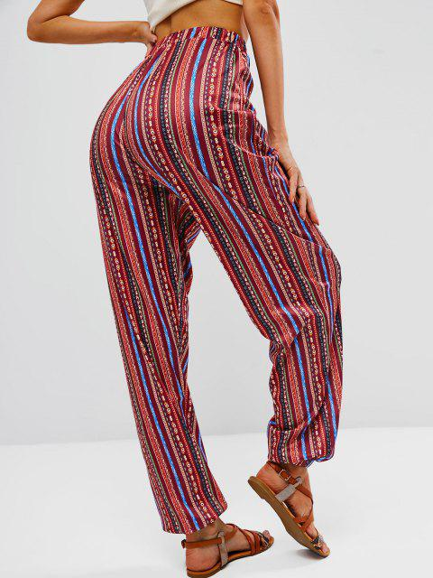 ladies Beam Feet Boho Print Pull On Pants - RED S Mobile