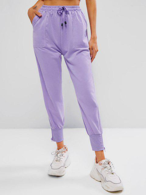 hot Zip Side Drawstring Pocket Jogger Pants - LIGHT PURPLE L Mobile