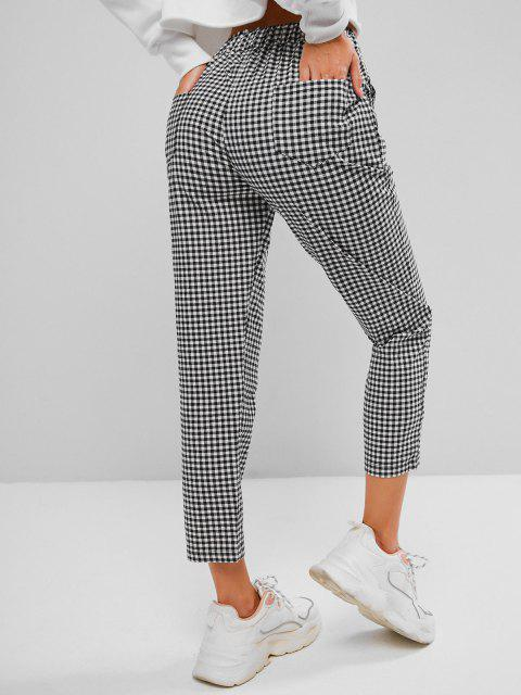 outfits Drawstring Gingham Ninth Tapered Pants - BLACK M Mobile