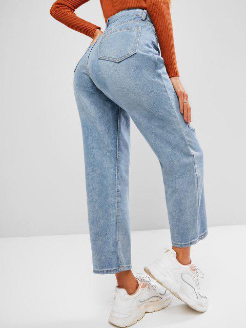latest Ripped Cat Whisker Straight Denim Jeans - LIGHT BLUE L Mobile