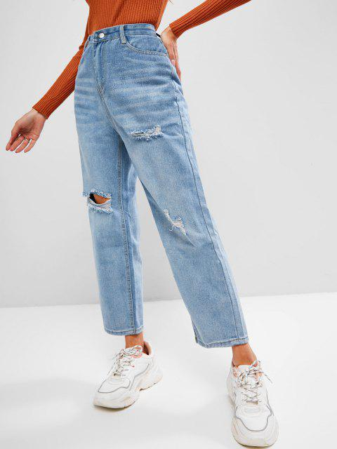 chic Ripped Cat Whisker Straight Denim Jeans - LIGHT BLUE S Mobile