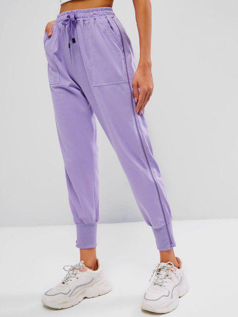 buy Zip Side Drawstring Pocket Jogger Pants - LIGHT PURPLE XL Mobile
