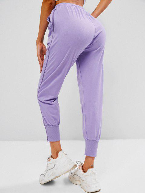 women's Zip Side Drawstring Pocket Jogger Pants - LIGHT PURPLE M Mobile