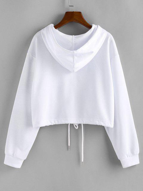outfit ZAFUL Drawstring Pure Zip Up Cropped Hoodie - WHITE M Mobile