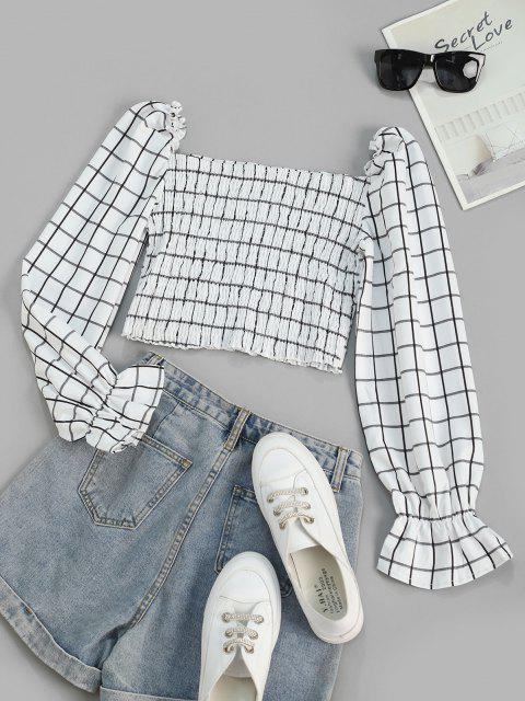 affordable Checked Smocked Poet Sleeve Milkmaid Top - WHITE M Mobile