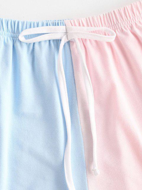 hot Tie Waist Two Tone Dolphin Shorts - LIGHT BLUE L Mobile