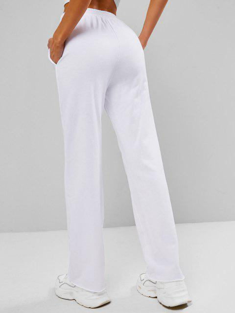 trendy Half Zip French Terry Raw Hem Sweatpants - WHITE L Mobile