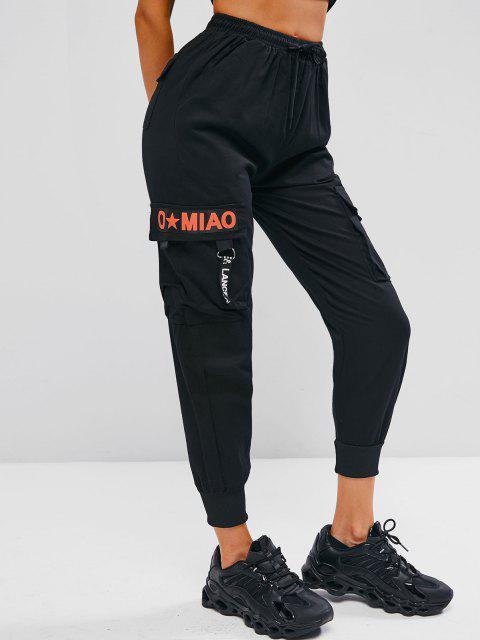 women Letter Graphic Drawstring Beam Feet Cargo Pants - BLACK M Mobile