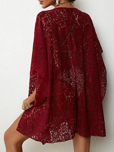 lady Lace Beach Kaftan Dress - DEEP RED ONE SIZE Mobile