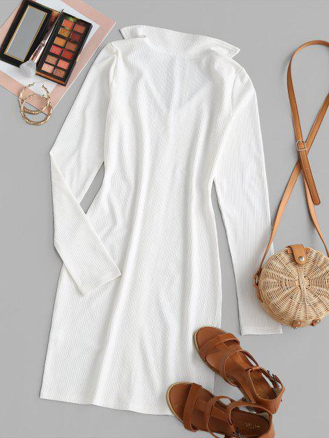 womens Ribbed Mock Button Bodycon Dress - WHITE XL Mobile