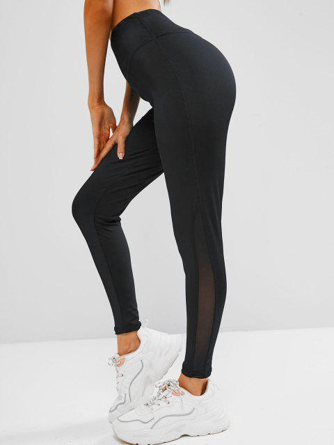 chic Wide Waistband Mesh Panel Stretchy Gym Leggings - BLACK L Mobile