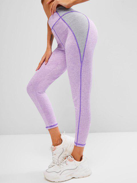 sale Space Dye Two Tone Topstitch Gym Leggings - LIGHT PURPLE S Mobile