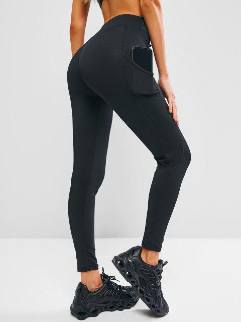 womens Side Pocket Topstitch Workout Gym Leggings - BLACK S Mobile