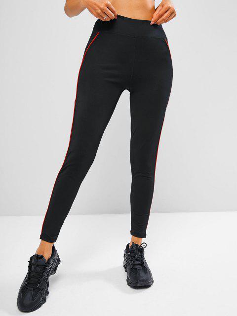 unique Contrast Binding Topstitch Workout Gym Leggings - BLACK S Mobile